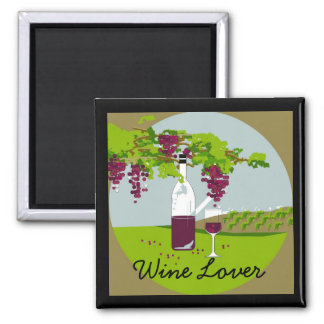 """CHIC MAGNET_""""Wine Lover""""_VINEYARD THEME 2 Inch Square Magnet"""
