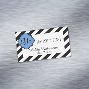 Professional Business CHIC MAGNETIC BUSINESS CARD_BLACK/WHITE STRIPES BUSINESS CARD MAGNET