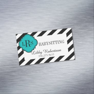Professional Business CHIC MAGNETIC BUSINESS CARD_BLACK/WHITE STRIPES MAGNETIC BUSINESS CARD