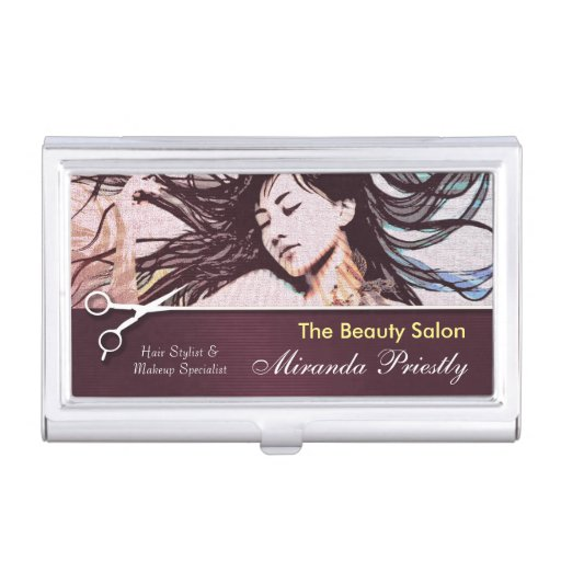 Chic makeup and hair salon business card holder zazzle for Chic business card holder