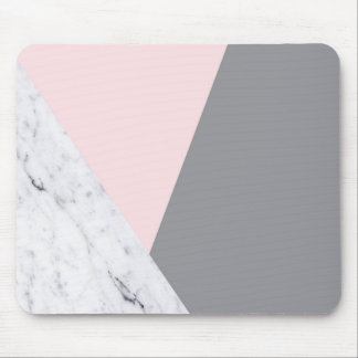 Chic Marble Pink Gray Abstract Mousepad