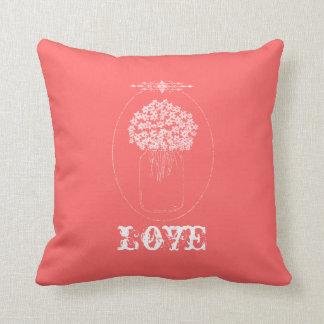Chic Mason Jar Flowers Love Pink Throw Pillow