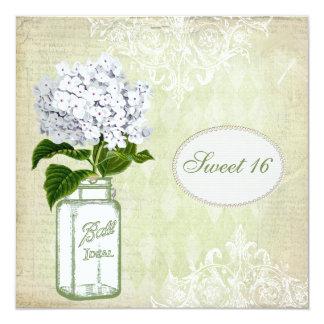 Chic Mason Jar & Hydrangea Sweet 16 Personalized Invitation