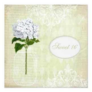 Chic Mason Jar & Hydrangea Sweet 16 Custom Invitation