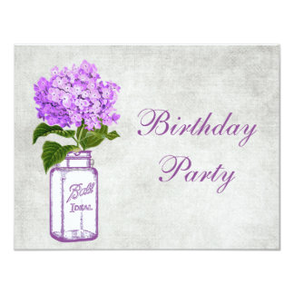 Chic Mason Jar & Purple Hydrangea Birthday Party Card