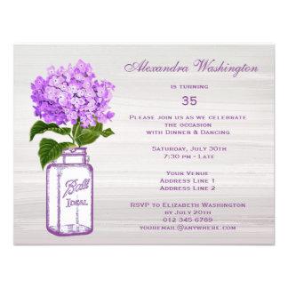 Chic Mason Jar Purple Hydrangea Birthday Party Invite