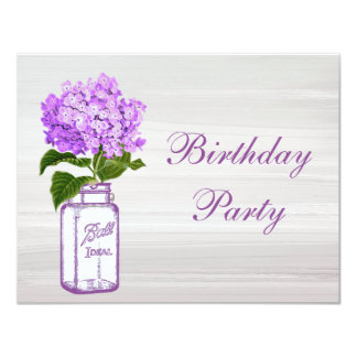 Chic Mason Jar & Purple Hydrangea Birthday Party Invite