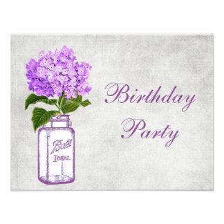 Chic Mason Jar Purple Hydrangea Birthday Party Personalized Invite