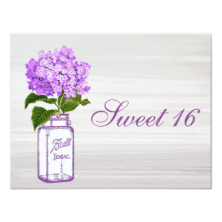 Chic Mason Jar & Purple Hydrangea Sweet 16 Card