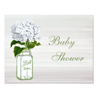 Chic Mason Jar & White Hydrangea Baby Shower Card