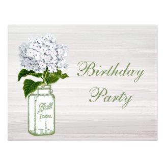Chic Mason Jar White Hydrangea Birthday Party Custom Invitations