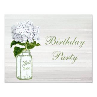 Chic Mason Jar & White Hydrangea Birthday Party 4.25x5.5 Paper Invitation Card