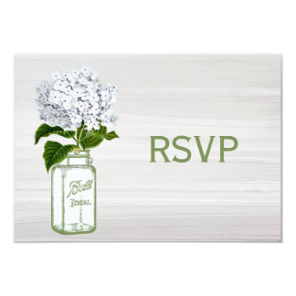 Chic Mason Jar & White Hydrangea RSVP Card