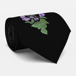Chic Mauve Wild Violets on Black Background Tie