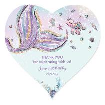 Chic Mermaid Birthday Baby Shower Thank You Favor Heart Sticker