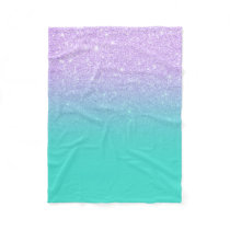 Chic mermaid lavender glitter turquoise ombre fleece blanket