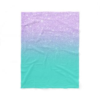 Chic mermaid lavender glitter turquoise ombre fleece blanket