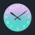 """Chic mermaid lavender glitter turquoise ombre round clock<br><div class=""""desc"""">Stylish,  girly,  faux purple lavender mermaid glitter ombre modern turquoise background.</div>"""