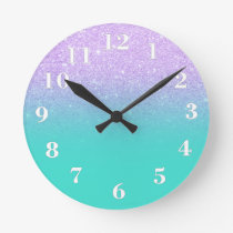 Chic mermaid lavender glitter turquoise ombre round clock