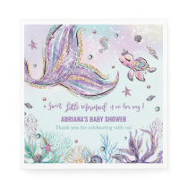Chic Mermaid Tail Under the Sea Baby Shower Party Napkins