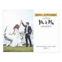 Chic Merry Christmas   New Mr. and Mrs. Photo Postcard