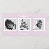 Chic Minimal Pale Pink Three Photo Merry Christmas Holiday Card