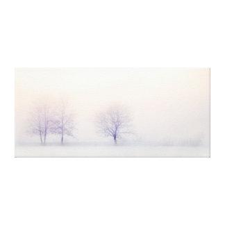 Chic Minimalist Winter Trees In Snow At Sunrise Canvas Print