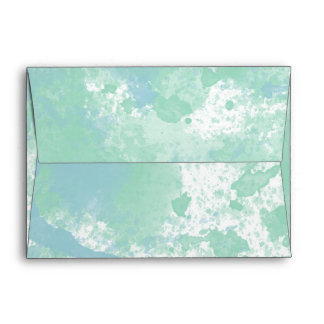 Chic Mint and Blue Watercolor Abstract Envelope