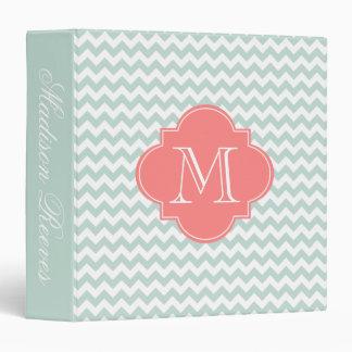 Chic Mint and Coral Chevron Custom Monogram Vinyl Binder