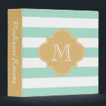 """Chic Mint and Gold Striped Custom Monogram 3 Ring Binder<br><div class=""""desc"""">Beautiful mint green and white stripes with a gold quatrefoil monogram. The perfect binder for wedding planning,  recipes,  photo albums,  work,  school,  and more! To customize the font and font color,  click on the &quot;Customize It&quot; button below the product image.</div>"""