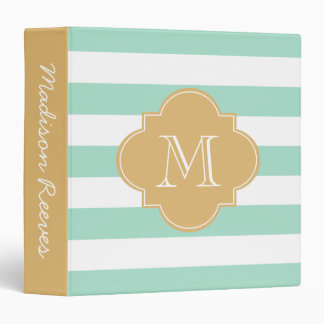 Chic Mint and Gold Striped Custom Monogram 3 Ring Binder