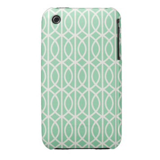 Chic Mint and White Moroccan Trellis Pattern iPhone 3 Cases