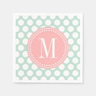 Chic Mint & Blush Pink Big Dots Monogrammed Paper Napkin