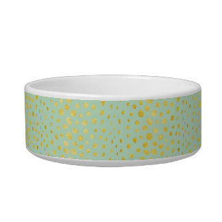 Chic mint faux gold glitter cheetah print monogram bowl
