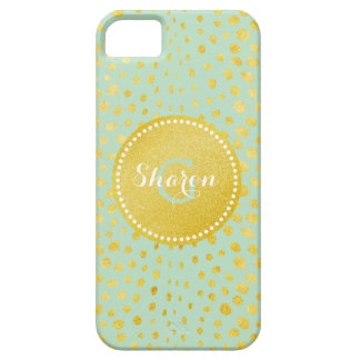 Chic mint faux gold glitter cheetah print monogram iPhone 5 case