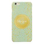 Chic mint faux gold glitter cheetah print monogram glossy iPhone 6 plus case