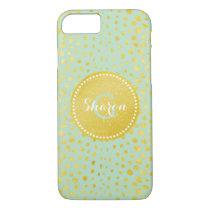 Chic mint faux gold glitter cheetah print monogram iPhone 7 case