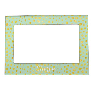 Chic mint faux gold glitter cheetah print monogram magnetic picture frame