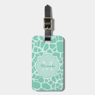 Chic Mint Giraffe Print With Monogram and Name Travel Bag Tags