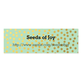 Chic Mint Gold Confetti Dots Business Card Template