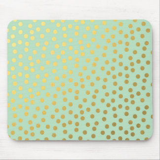 Chic Mint Gold Confetti Dots Mouse Pad