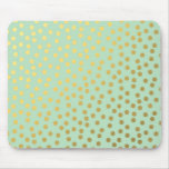 Chic Mint Gold Confetti Dots Mouse Pads