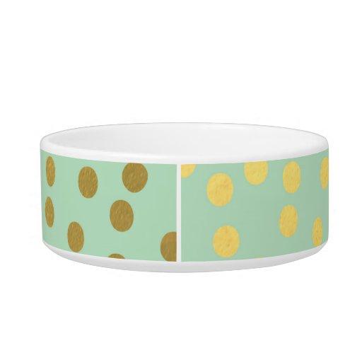 Chic Mint Gold Confetti Dots Cat Food Bowls