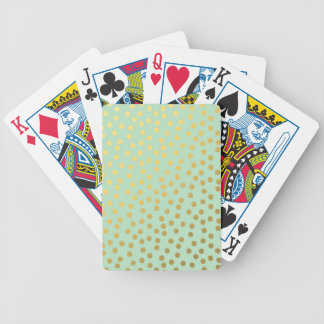 Chic Mint Gold Confetti Dots Bicycle Poker Cards