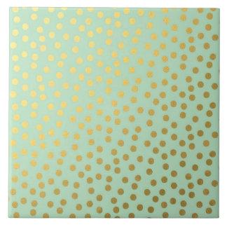 Chic Mint Gold Confetti Dots Tile