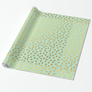 Chic Mint Gold Confetti Dots Gift Wrap Paper