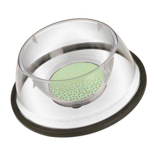 Chic Mint Gold Confetti Dots Pet Bowl