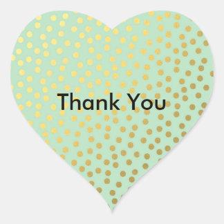 Chic Mint Gold Dots Heart Sticker