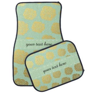 Chic Mint Gold Floral Floor Mat