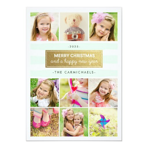 Chic Mint Gold Photo Collage Holidays Card